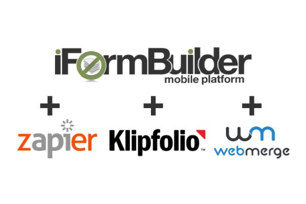iFormBuilder integration with Zapier, Klipfolio, and WebMerge